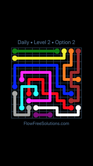 Monday January 1 2018 Flow Free Bridges Level 2 Daily Puzzle Solution And Answer Flow Free Solutions
